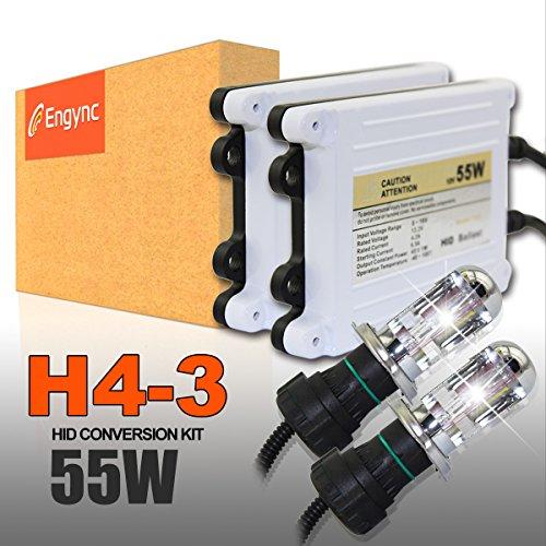 Engync 55W H4 (HB2) (9003) Kit Bi-Xenon Xenon HID conversione con Premium reattori e 3 anni di garanzia | Hi / Low Bright White con un pizzico di giallo colore (4300K) - Bright Blue Headlights