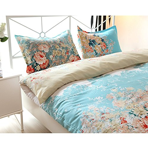 Vaulia Lightweight Duvet Cover Sets, Vintage Floral Pattern Design - Full/Queen Size