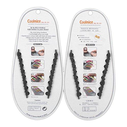 AutumnFall 16PCS/Set Unisex Women Men No Tie Shoelaces Elastic Silicone Shoe Laces Fit All Sneakers (Black)