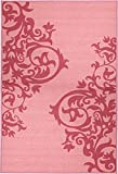 "Glamour Collection Pink, Red Contemporary Scrolls Design Kids Rug (3'3""x5'0"") Machine-Washable Non-Slip Kitchen and Bathroom Mat Rug by Ottomanson"