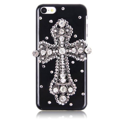 Sanheshun Luxury 3D Bling Rhinestone Diamond Cross Hard Back Case Cover Compatible With Apple Iphone 5C