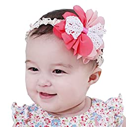 Set of 3 Beautiful Baby Girl Headband Cute Flower Toddler Accessory Pink&Red 1Y