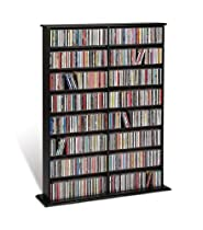 Prepac Black Double Width Wall Media (DVD,CD,Games) Storage Rack