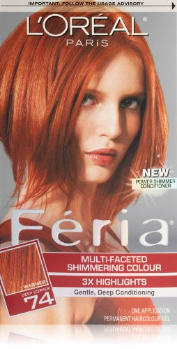 Feria Hair Color, 74 Deep Copper (Packaging May Vary) (Feria Power Shimmer Conditioner compare prices)
