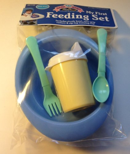baby King My First Feeding set (sturdy bowl, easy-grip cutlery & sip-top training cup), Color: Blue - 1