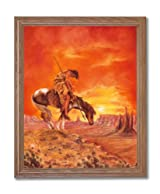 End Of The Trail Native American Indian Horse Animal Home Decor Wall Picture Oak Framed Art Print