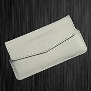 i-KitPit Quality PU Leather Pouch Case With Magnet Closure For Micromax Bolt A34 (WHITE)