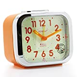 JCC Two Alarm Sound LED Night light Quartz Analog non ticking sweep second hand bedside alarm clock (Orange)