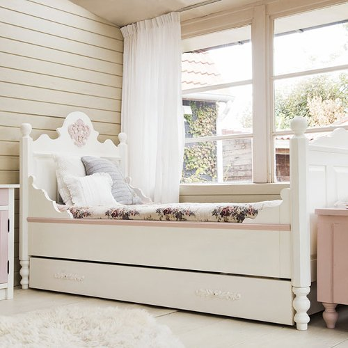 Opsetims Kinderbett / Jugendbett TIMS MEDAILLON, Landhausstil, weiß, 200x90cm günstig online kaufen