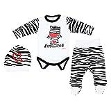 3er Set Baby Bekleidung Neugeborene Mädchen Jungen Langarm-Body mit Aufdruck Strampelhose mit Fuß Mütze, Farbe: Zebra, Größe: 68