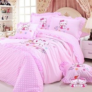 DIAIDI,Hello Kitty Bedding Set,Hello Kitty Bed In A Bag,Pink Princess Bedding Sets,Kids Bedding,Polka Dot Bedding Set,Queen Twin Size,4Pcs (queen)