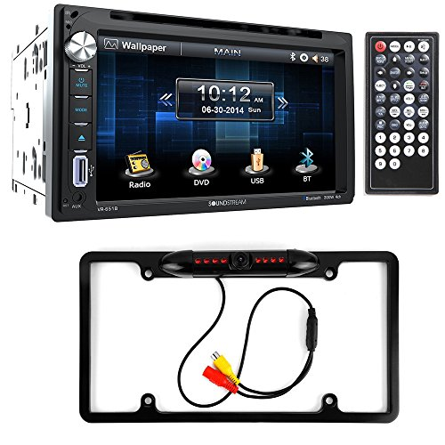Soundstream VR-651B Double DIN Bluetooth In-Dash DVD/CD/AM/FM Car Stereo & Rear View Camera Input w/ Trigger + Cache Night Vision Car License Plate Rearview Camera (CAM810B) (Radio With Backup Car Camera compare prices)