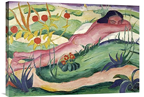 "Global Gallery GCS-265157-30-142 ""Franz Marc Nude Lying In The Flowers"" Gallery Wrap Giclee on Canvas Print Wall Art"