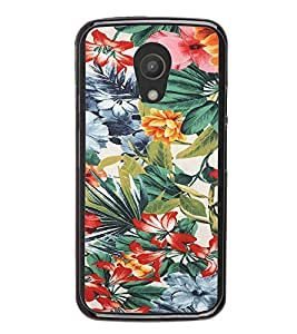 iFasho Animated Pattern colrful flower with leaves Back Case Cover for Moto G2