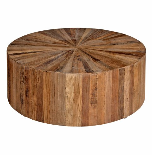 Cyrano Reclaimed Wood Solid Round Drum Modern Eco Coffee Table (SCH-550435)