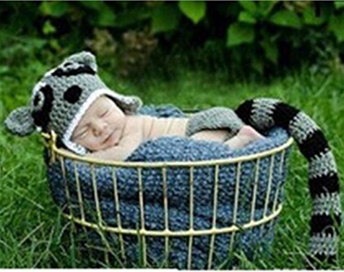 [Pep-Baby® Handmade Knitted Crochet Hat Raccoon Costume Newborn Baby Photograph Props Set] (Raccoon Girl Costumes)