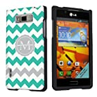 SkinGuardz Designer Black Hard Case for LG Optimus Showtime L86C - Mint Chevron Monogram Initial M