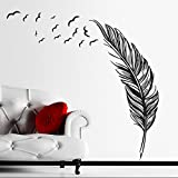 ORDERIN Wall Decal Hand-made Abstract Black Feather Fly Left Removable Mural Wall Stickers for Home Living Room Decoration