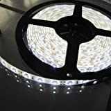 Pure White LED Strip light, Waterproof LED Flexible Light Strip 12V with 300 SMD LED, 3258 16.4 Foot / 5 Meter