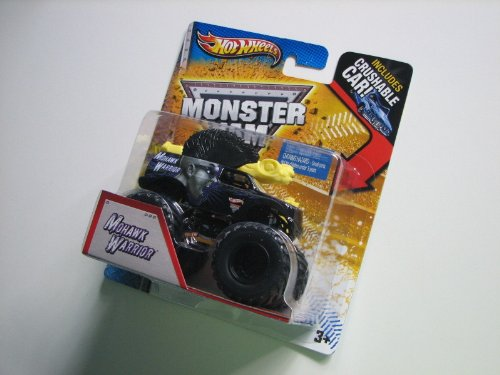 2013 HOT WHEELS 1:64 SCALE MOHAWK WARRIOR MONSTER JAM TRUCK WITH CRUSHABLE CAR - 1