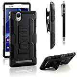 Sony Xperia T2 Ultra Case, RANZ® Black Rugged Impact Armor Hybrid Kickstand Cover with Belt Clip Holster Case For Sony Xperia T2 Ultra D5303 / D5306 with Touch Stylus