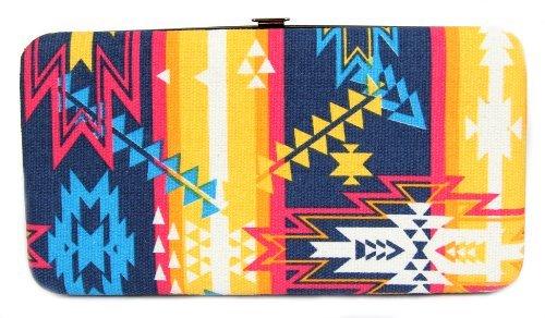 FreshGadgetz 1 Set di Portafoglio borsetta con chiusura a scatto motivo Azteco colori giallo/viola/blu
