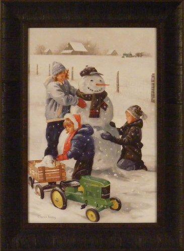 Fresh Snow By Charles Freitag 17X23 Children Snowman Farm John Deere Pedal Tractor Red Wagon Framed Art Print Picture
