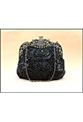 Victorian Style Bridal Accessories Beaded Handbag Evening Purse Mini Bag Wedding Clutch Holiday Birthday Gift Bea005-black