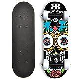 Rude Boyz 17 Inch Mini Wooden Beginner Skateboard - White Sugar Skull