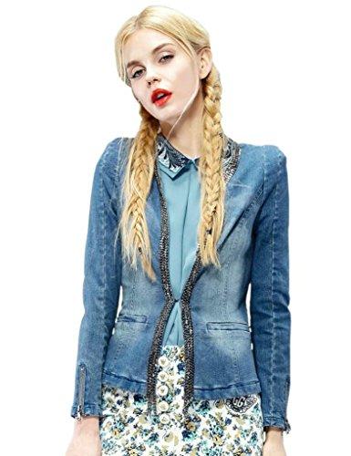 Elf Sack Women'S Winter Jacket Denim Short Slim V Neck Metal Embellished Medium Size Blue