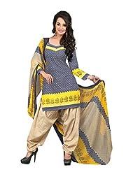 BanoRani Womens Beige & Blue Color PolyCotton UnStitched Patiyala Salwar Suit - B0158M0J1Y