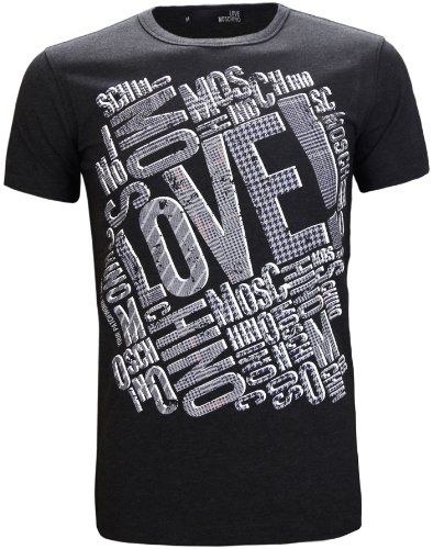 Love Moschino Men's Patchwork Logo T-Shirt Dark Grey (L )