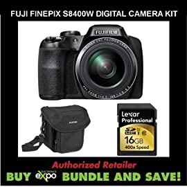 Fuji FinePix S8400W 16.2 MP Digital Camera with 44x Optical Image Stabilized Zoom and 3-Inch TFT LCD (Black)