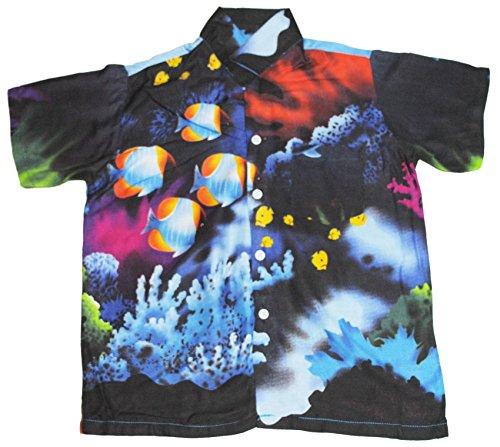 Hawaii Hemd Jungen Tropisch Fisch Jungen Mädchen Kinder - Blau, M EU 110/116