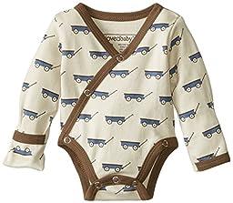 L\'ovedbaby Unisex-Baby Newborn Organic Kimono Bodysuit, Slate Wagon, 3-6 Months