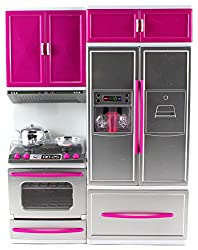 My Modern Kitchen Oven Refrigerator Battery Operated Toy Doll Kitchen Playset w/ Lights, Sounds, Per