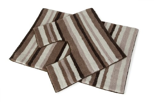 Stripey 2 Piece Beige Cream Brown Bath Mat & Pedestal Toilet Rug 100% Cotton Set For Bathroom Hallways ®