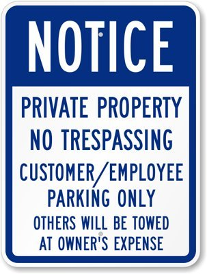 """SmartSign Aluminum Sign, Legend """"Notice: Customer / Employee Parking Only"""", 24"""" high x 18"""" wide, Blue on White"""