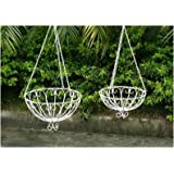 Gardensity ® Iron Hanging Flower Baskets set of 2 Outdoor Garden Antique Rustic Vintage Victorian style Metal White Chain Hanging Basket Model 2WHANBAS726116
