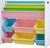 ottostyle.jp TOY BOX(トイボックス) おもちゃ収納ラック 本棚付 ホワイト×パステルボックス