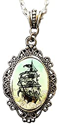 Alkemie Old Fashioned Pirate Ship Cameo Pendant Necklace