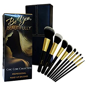 FALL SALE!!! Professional Makeup Brush Set - Highest Quality 8 Piece Synthetic Taklon Bristles & Wood Handle Brushes for Expert Results in Eye & Face Makeup Application - Great GIFT - BONUS - Dual Purpose Hard Case Organizer Holder for Home or Travel - ADDITIONAL LIMITED TIME BONUS - FREE Stippling Brush - SATISFACTION GUARANTEED
