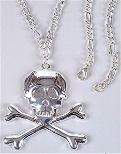Gothic Slayer Vampire Skull Cross Bones Metal Necklace
