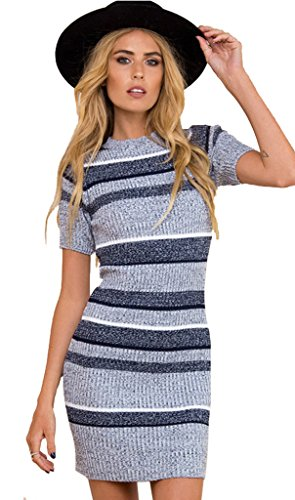 ALAIX Women's Striped Round Neck Short Sleeve Bodycon Knit Sweater Dress Blue