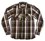 (ヒューストン)HOUSTON マチ付 長袖 ビエラチェック ヘビーネルシャツ L GRY×BLACK(グレー×ブラック系)