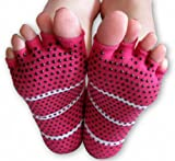 Yoga Toeless Socks (Pink), 2 Pairs Set, For Yoga and Pilates, by YogaAddict