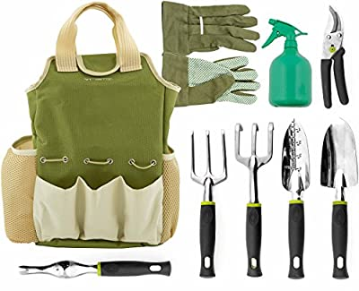 VREMI Horticulture Helper Garden Tools Set, 9 Piece