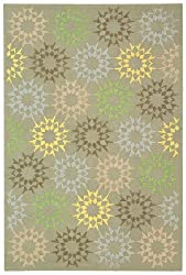 "3'9"" x 5'9"" Rectangular Safavieh Area Rug MSR1843H-4 Opal/Gray Color Hand Hooked China ""Martha Stewart Collection"" Block Quilt Design"