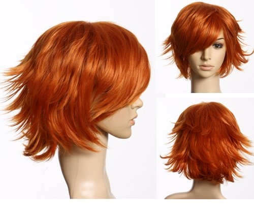 Cosplayland C178 - Red Orange short Hair Layered flip out heat-resistant Cosplay Wig