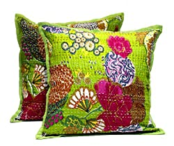 2 Green Home Decor Handmade Pillowcase Indian Traditional Kantha Stitch Pillow Cushion Covers
